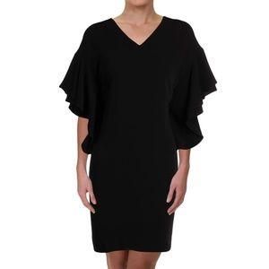 NWT Ralph Lauren Black Flutter Shift Midi Dress
